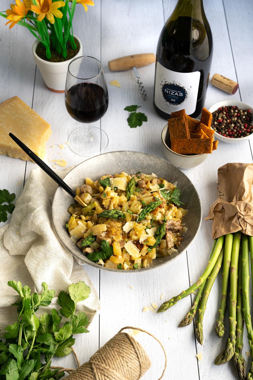 Risotto de pommes de terre, asperges et agneau