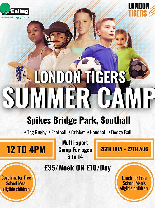 London Tigers Summer  Camp - 26th July - 27th August.