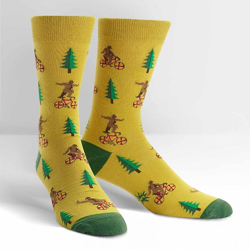 Bike Riding Sasquatch Crew Socks