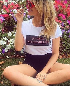 T-SHIRT BRANCA NO BOYS NO PROBLEMS