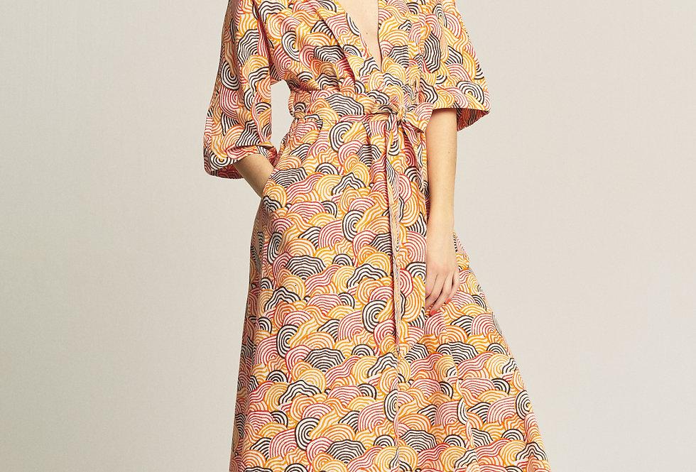 Maxi Dress Kimono - Orange
