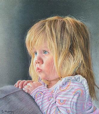 Pencil portrait of little girl