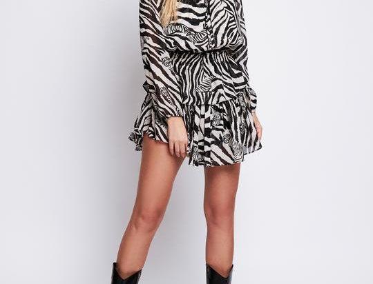 Arri Rose Ruffle Dress in Zebra Print