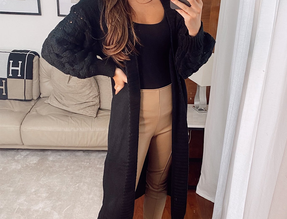 Kendall Bobble Sleeve Long Cardigan in Black