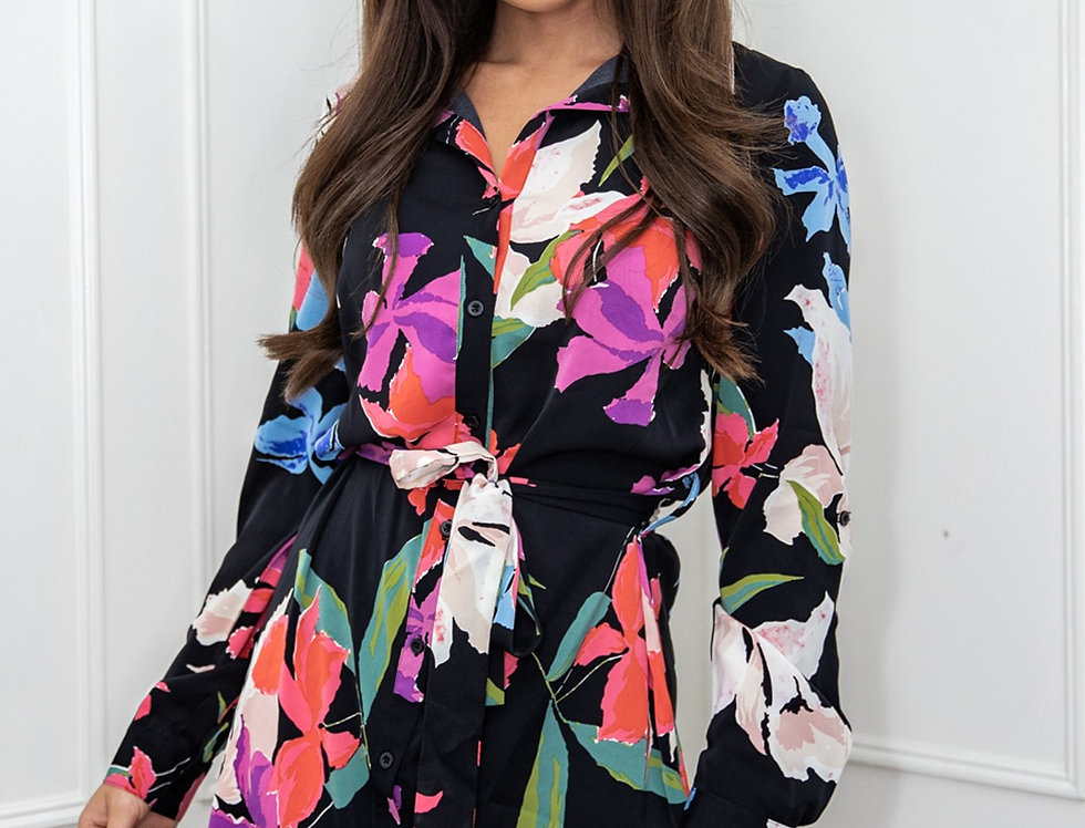 Heather Black Floral Belted Shirt Mini Dress In Black Floral