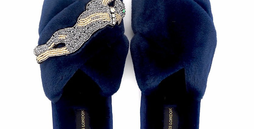 Navy Fluffy Slippers with Platinum Panther Brooch