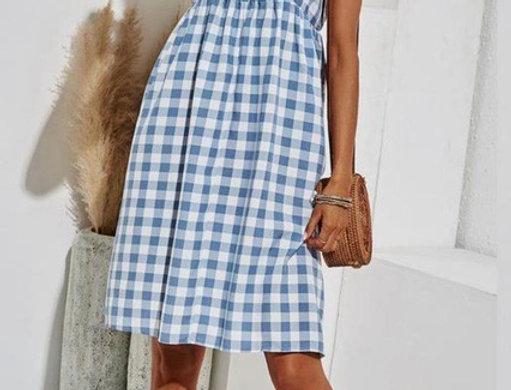 Bali Blue  & White Gingham Smock Dress