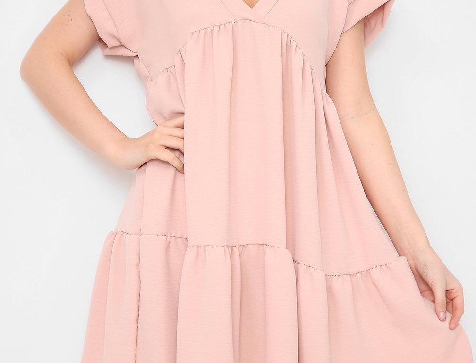 Asha V Neck Mini Smock Dress in Pink