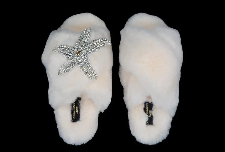 Laines London Fluffy Luxe Slippers with Starfish in Cream