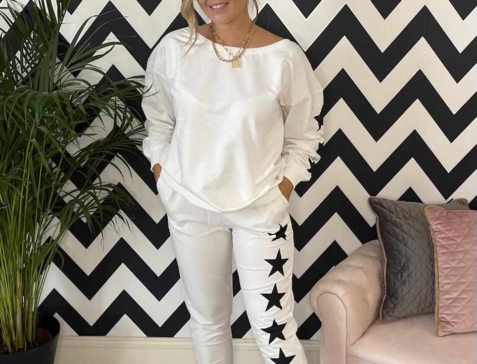 Star Print Loungewear Set in Ecru