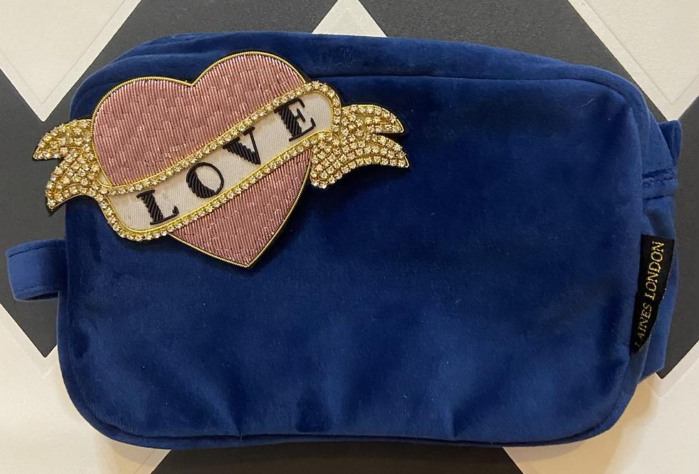 Navy Velvet Bag with Love Brooch