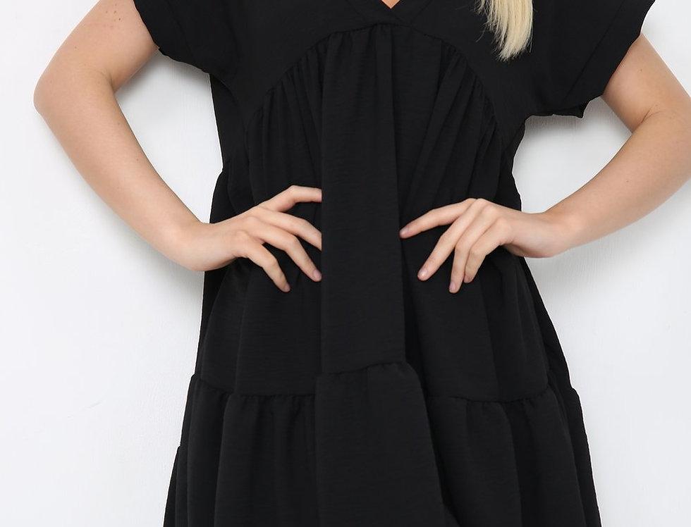 Asha V Neck Mini Smock Dress in Black