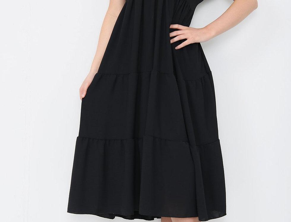 Asha V Neck Midi Dress in Black