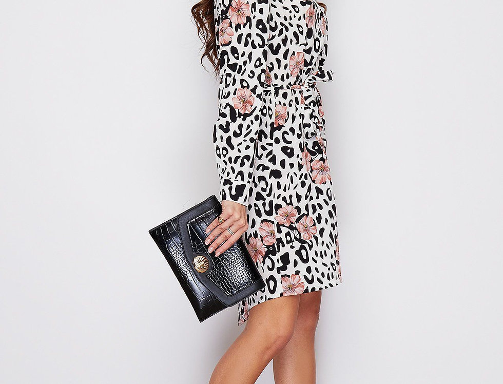 Amy White Leopard Print Tie Waist Shirt Dress