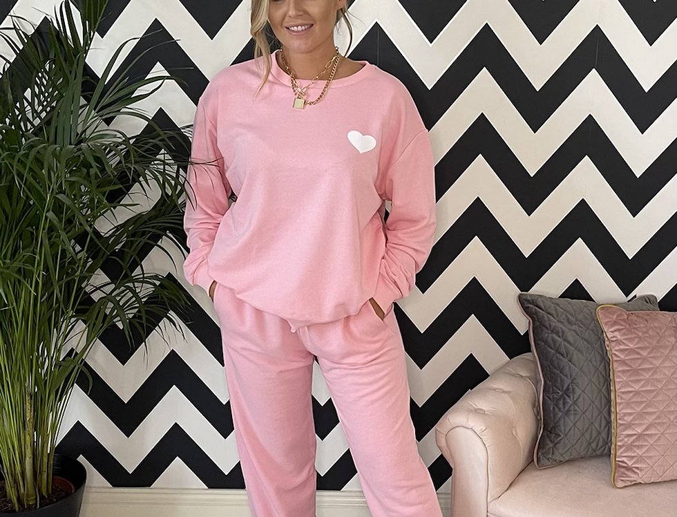 My Nelly Heart Tracksuit in Pink