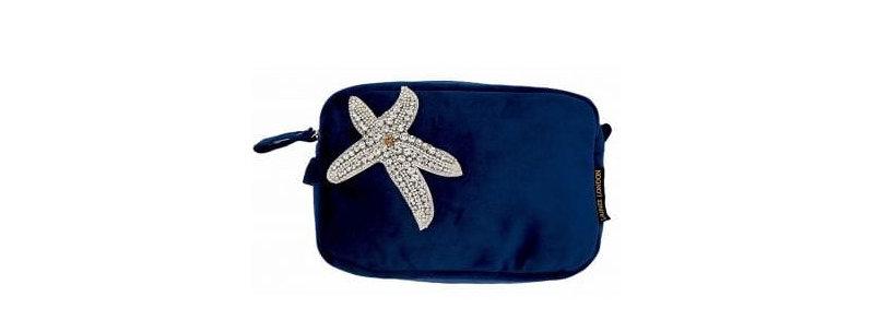 Navy Velvet Bag with Starfish Brooch