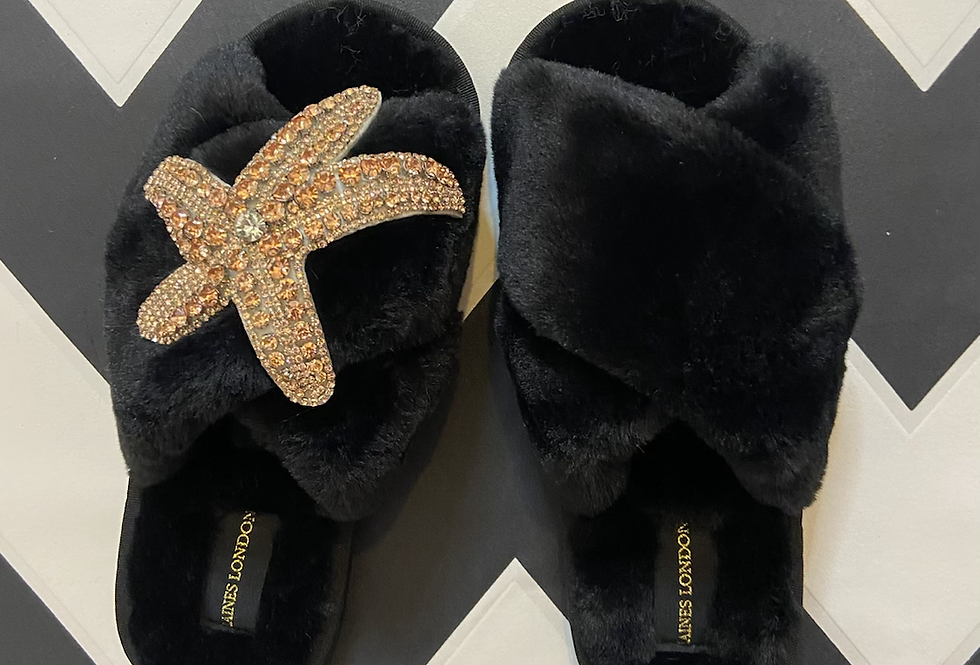 Black Fluffy Slippers With Starfish Brooch