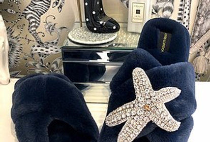 Navy Fluffy Slippers with Starfish Brooch