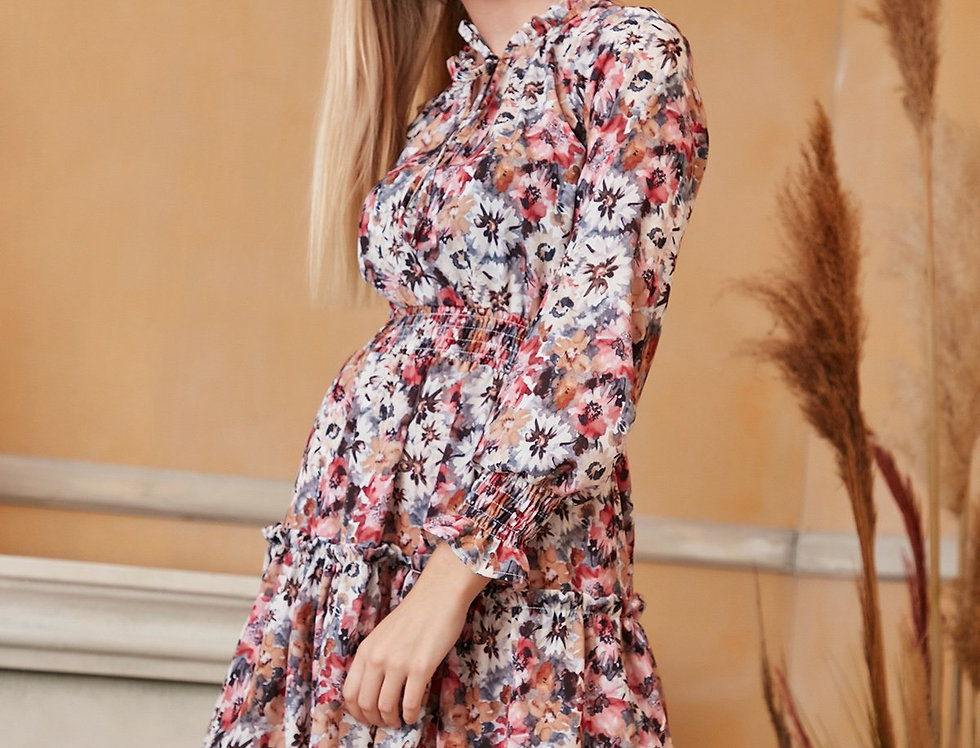Long Sleeve Skater Dress in Floral Print