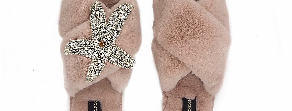 Pink Fluffy Slippers with Silver Starfish Brooch