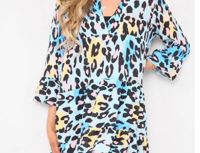 Shelly Multicoloured Yellow Animal Print Loose Fit V Neck Dress
