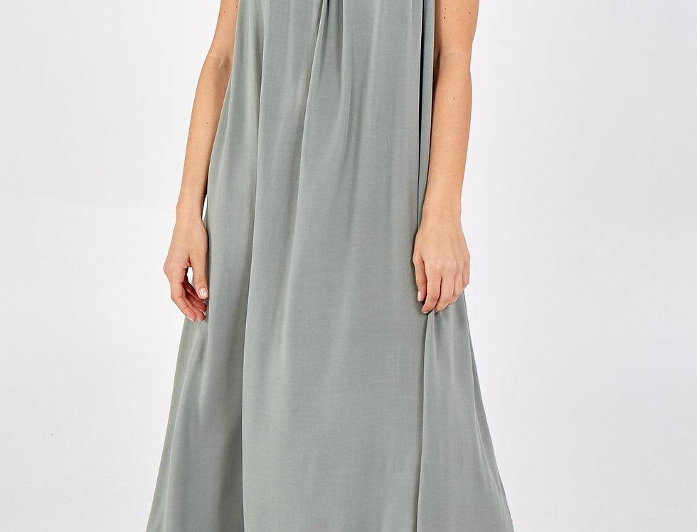 Lina Open Back Maxi Dress in Khaki