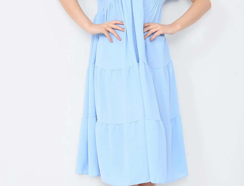 Asha V Neck Midi Dress in Baby Blue