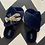 Thumbnail: Navy Fluffy Slippers with Lobster Brooch