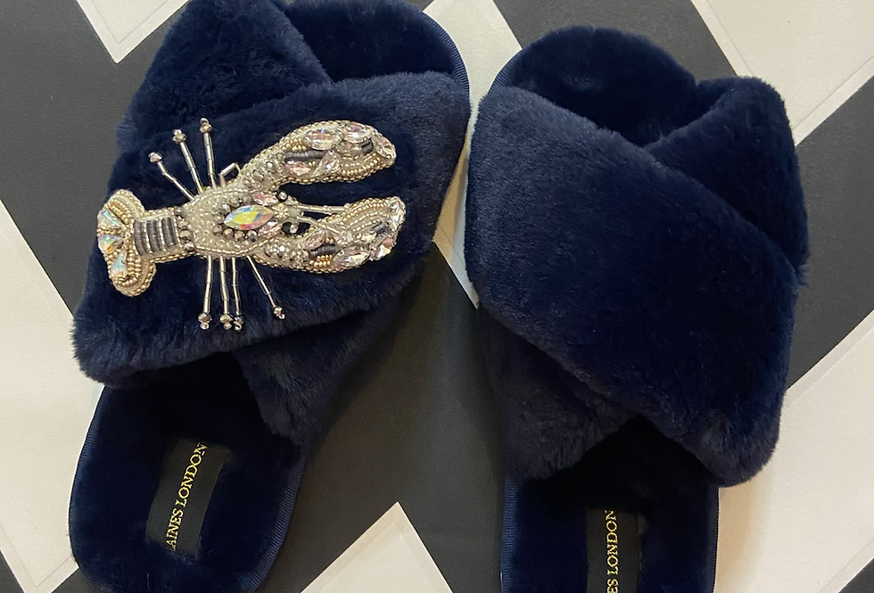 Navy Fluffy Slippers with Lobster Brooch