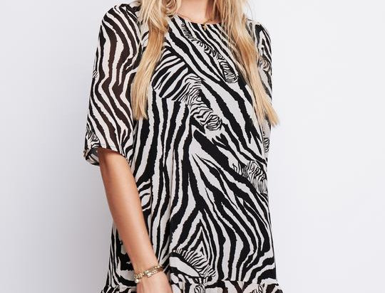 Arri Demi Drop Waist Dress in Zebra Print
