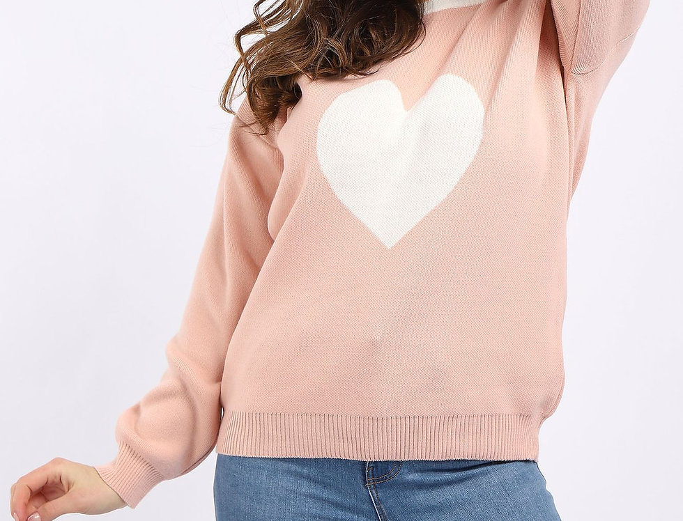 Heart Knitted Jumper in Pink