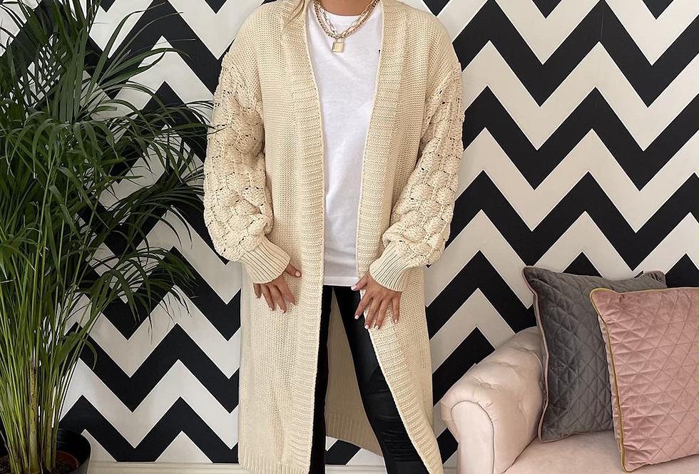 Kendall Bobble Sleeve Long Cardigan in Cream