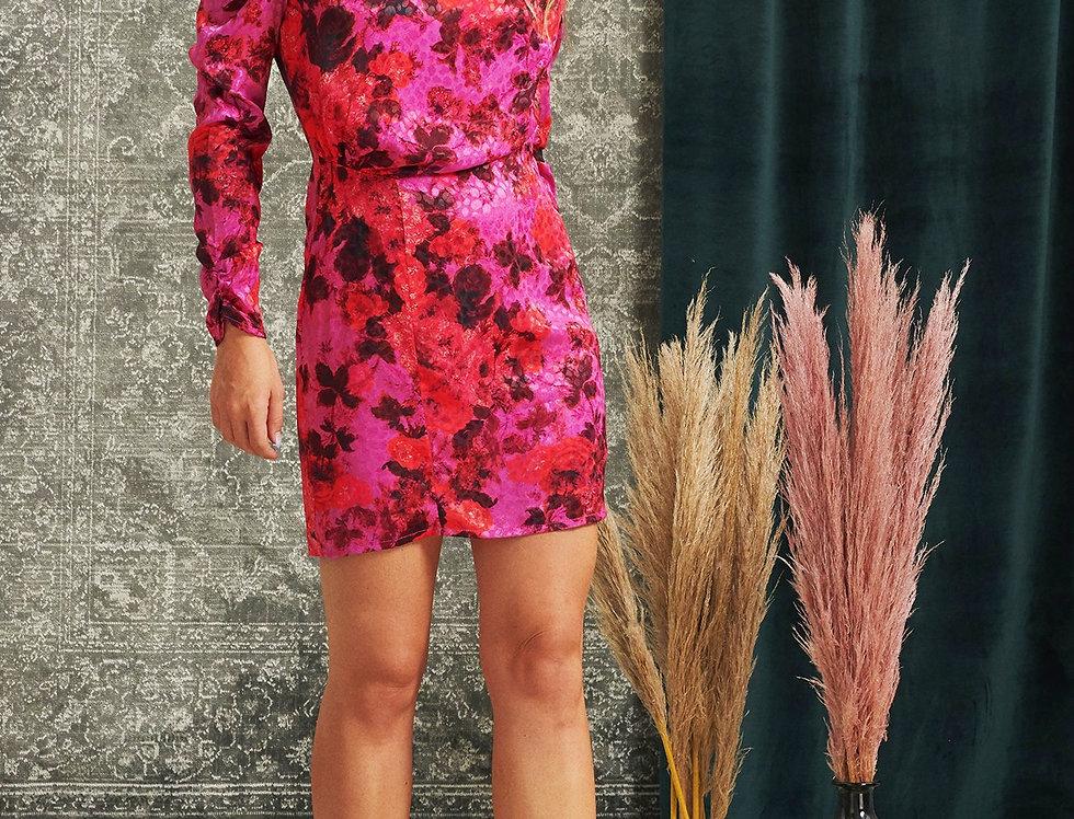 Francesca Jacquard Mini Dress in Pink