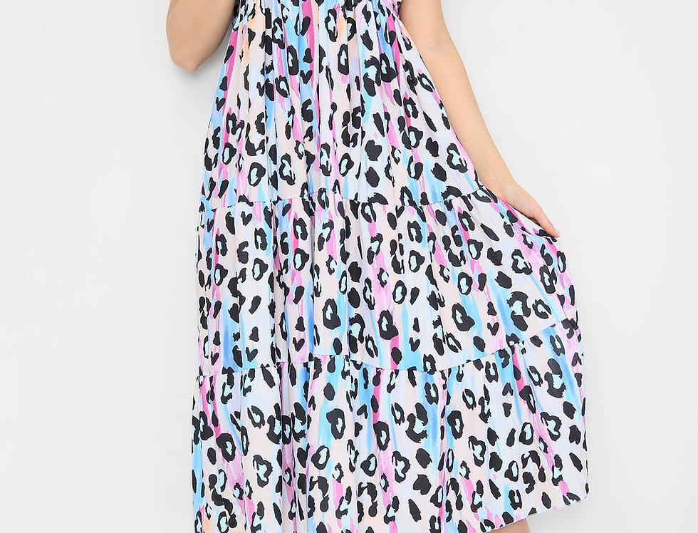 Shelly Multicoloured Blue Animal Print Midi Dress