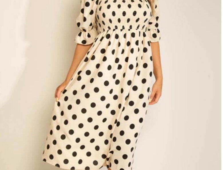 Sophia Polka Dot Midi Dress in Cream