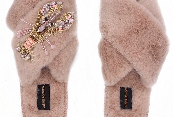 Pink Fluffy Slippers With Pink Lobster Brooch