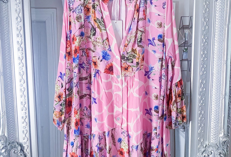 Helena Floral Smock Dress in Pink