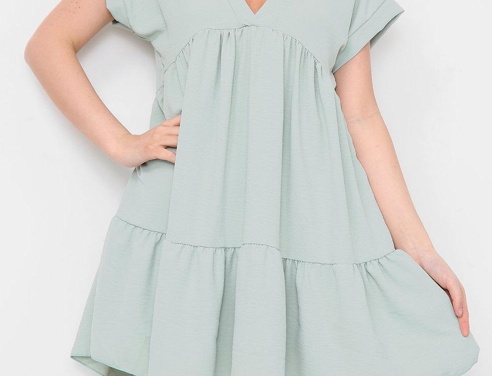 Asha V Neck Mini Smock Dress in Green