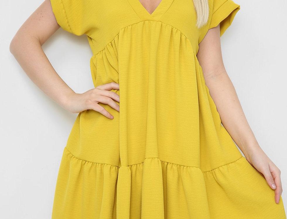 Asha V Neck Mini Smock Dress in  Mustard