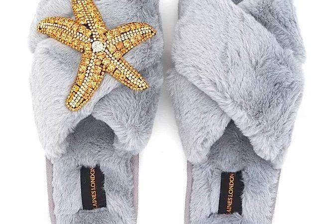 Grey Fluffy Slippers With Starfish Brooch