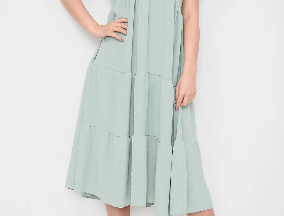 Asha V Neck Midi Dress in Sage