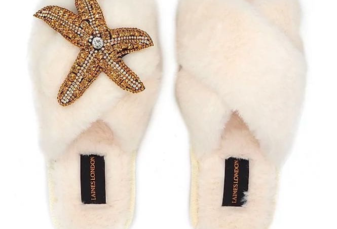 Cream Fluffy Slippers With Starfish Brooch