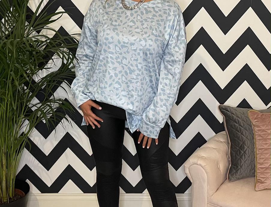 Louisa Powder Blue Long Sleeved Top