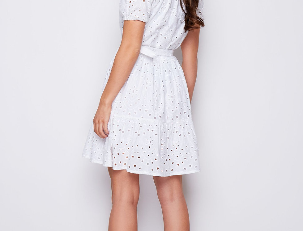 Charlie Broderie Belted Mini Dress In White
