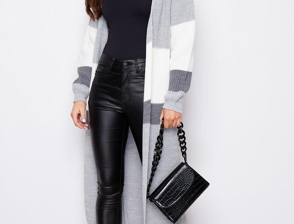 Cara Panelled Cardigan in Grey