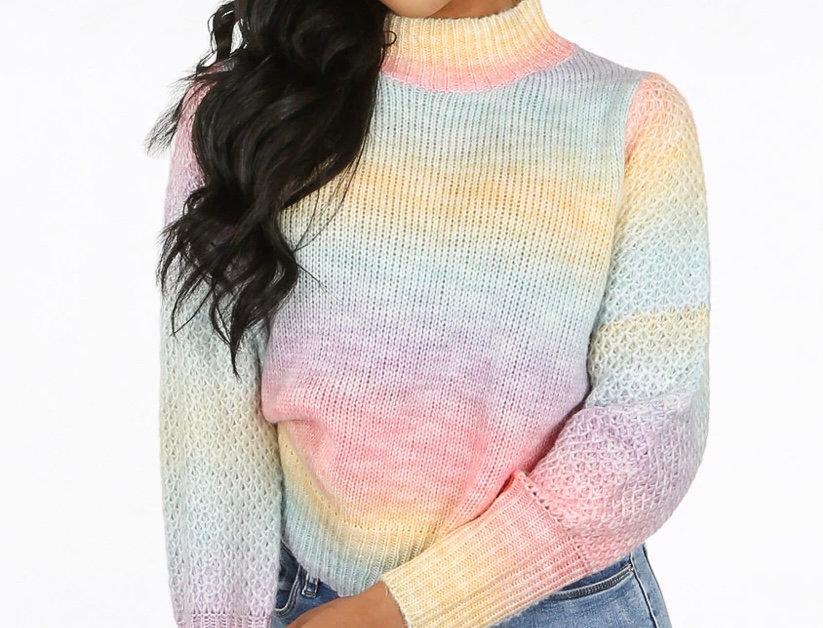 Rainbow Stripe High Neck Knitted Jumper