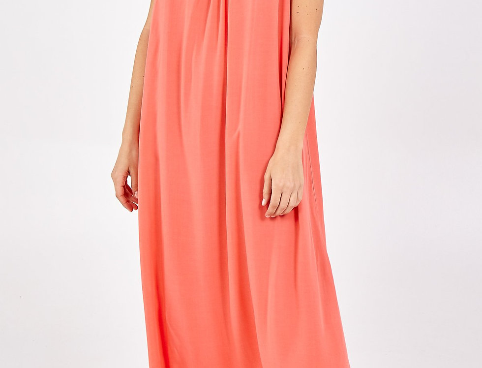 Lina Open Back Maxi Dress in Coral