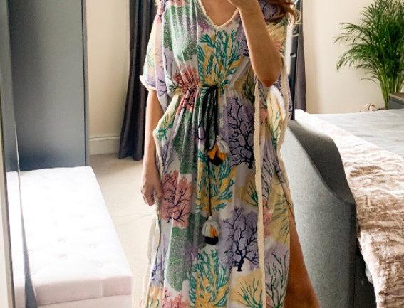 Kelsi Kaftan Style Dress in Leaf Print