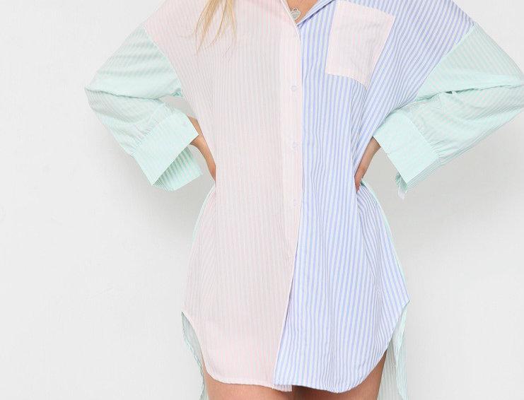 Cali  Pastel Pin Stripe Shirt Dress in Green