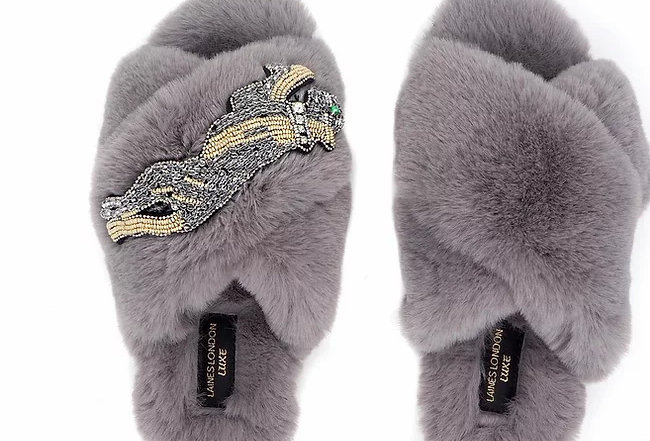 Laines London Fluffy Luxe Slippers with Panther in Grey